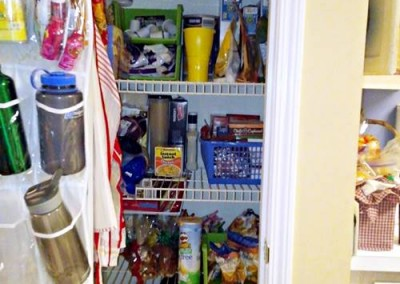 Jan wanted some things put away in containers but she wanted most things out of containers for easy access for her husband and son.